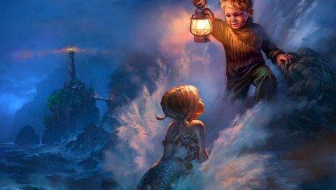 Русалка, мальчик, шторм, фонарь, побережье