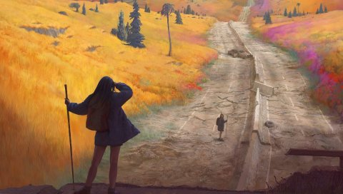 Девушки, дорога, осень