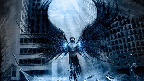 Конец света, парень, небо, крылья