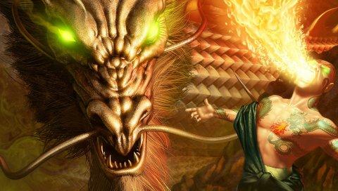 Дракон, огонь, глаза, человек