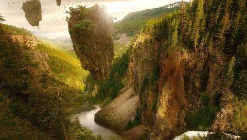 Горы, лес, птицы, невесомость