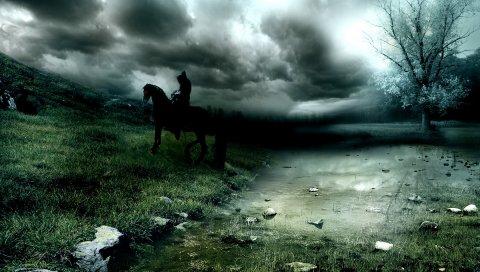 Всадник, лошадь, смерть, озеро