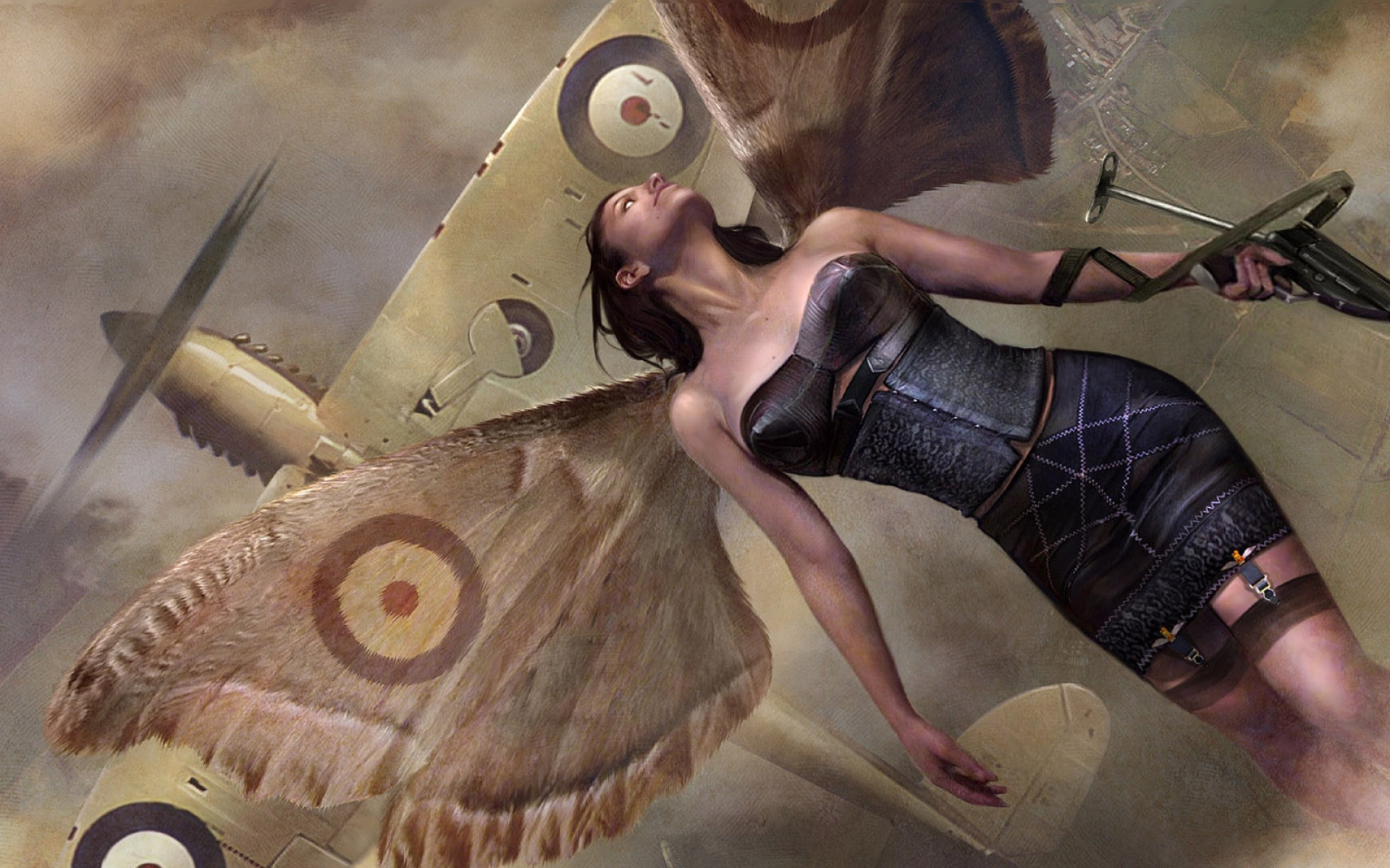 Картинки Девушка, крылья, самолет, оружие фото и обои на рабочий стол
