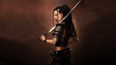 Девушка, солдат, меч, кровь