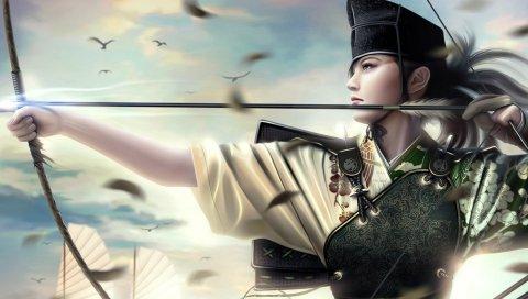 Девушка, стрелок, оружие, перья