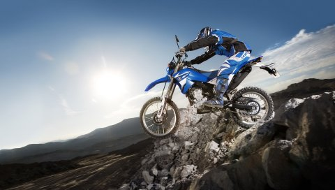 Мотоцикл, камни, экстрим, ямаха, темно-синий