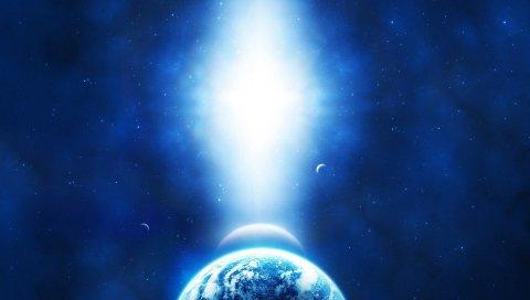 Свет, солнце, звезды, синий, планета, земля, луна