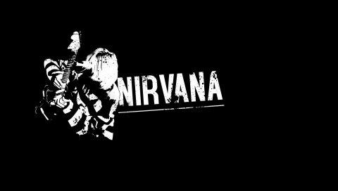 Нирвана, гитарист, знак, фон, буквы