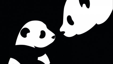 Панда, рисунок, черный, белый