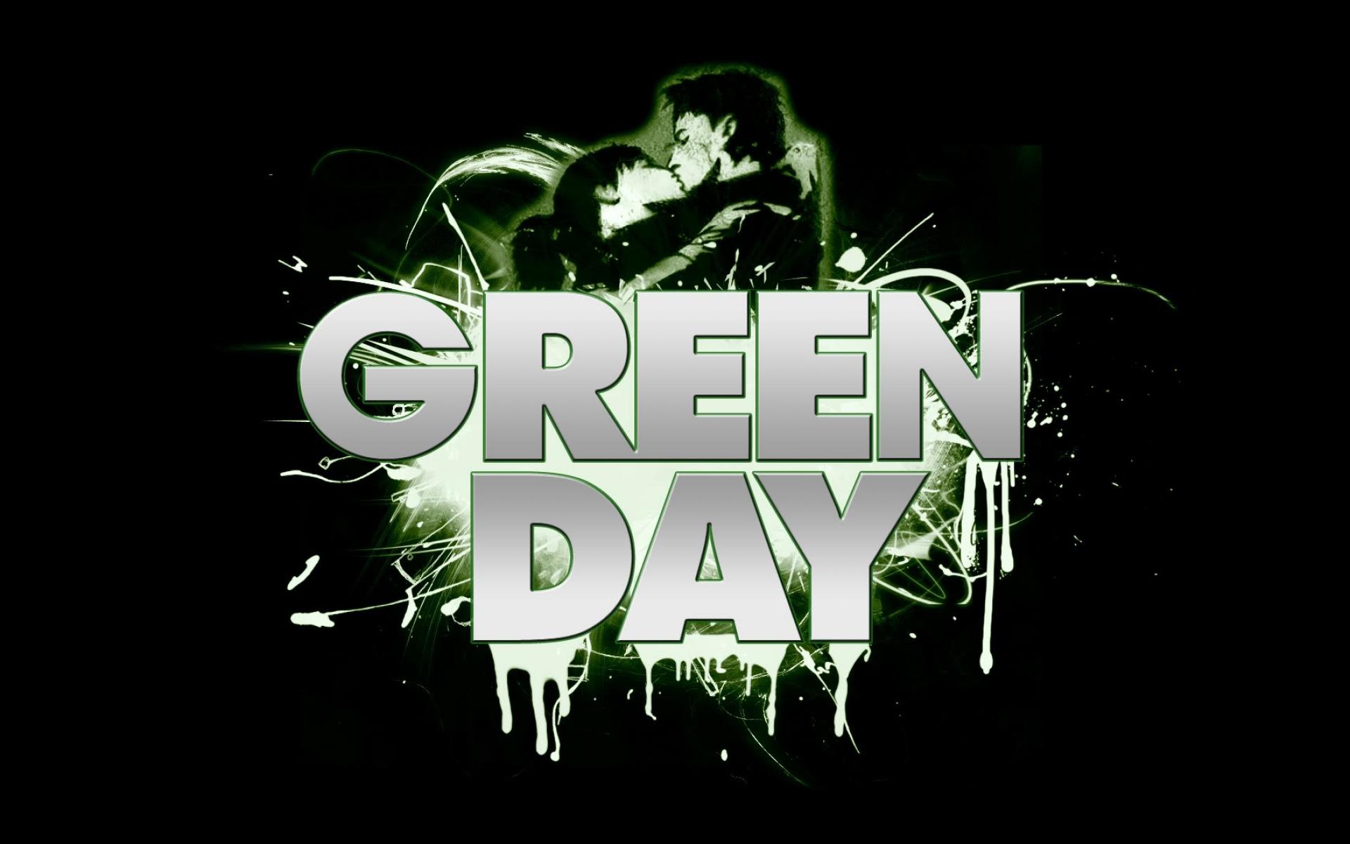 Картинки Зеленый день, буквы, темнота, знак, поцелуй фото и обои на рабочий стол