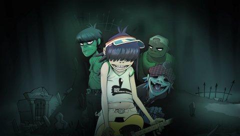 Гориллаз, кладбище, ночь, гитара, темнота