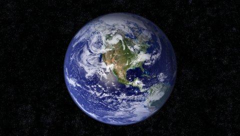 Земля, планета, синий, черный, звезды