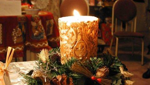 Новый год, рождество, свеча, огонь, стол, уют