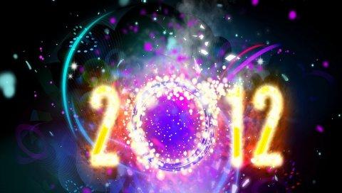 Новый год, рождество, цифры, 2012, дата