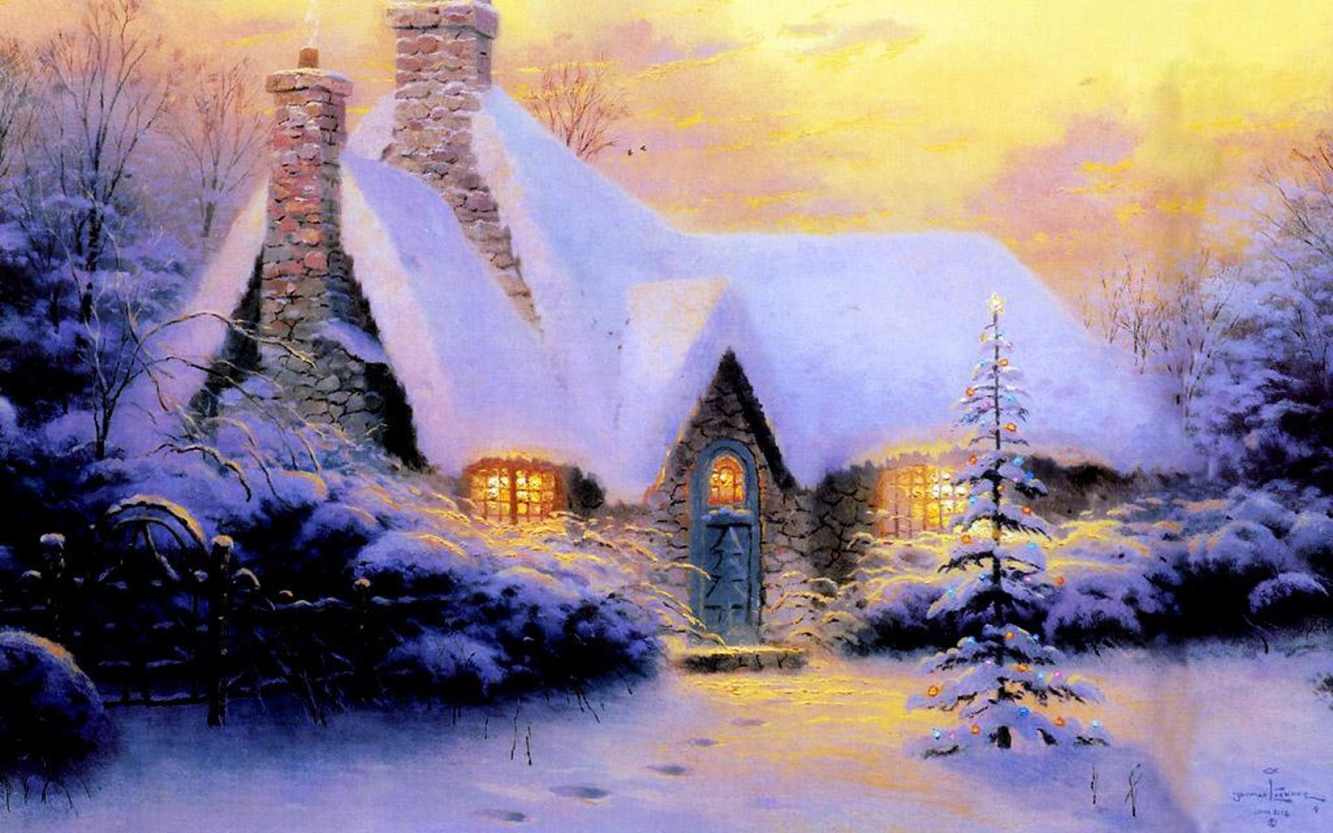 Картинки Рождество, новый год, дом, елка, снег, зима, свет, камень фото и обои на рабочий стол