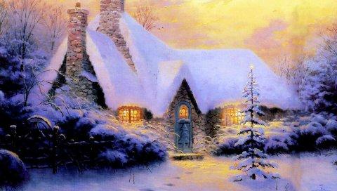 Рождество, новый год, дом, елка, снег, зима, свет, камень