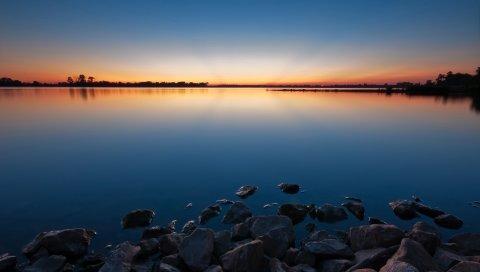 Камни, вода, закат, озеро, вечер