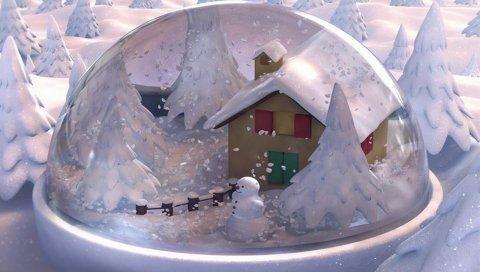Новый год, рождество, подарок, стекло, снеговик, снег, дом, ели