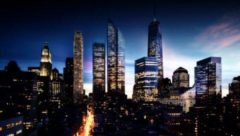 Город, ночь, огни, огни города, здания, небо