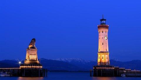 Город, маяк, вода, свет, небо, синий