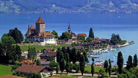 Швейцария, город, высота, река, здание