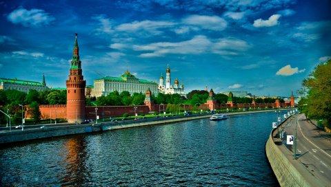 Москва, россия, красная площадь, небо, река