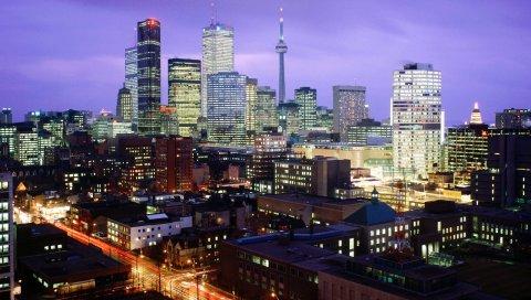 Торонто, Канада, ночь, город, огни, свет