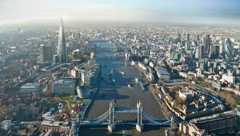 Лондон, высота, здания, небо, небоскребы