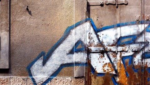 Стена, ржавчина, город, граффити, надпись