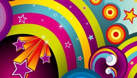 Абстракция, рисунок, яркий, радуга, вектор