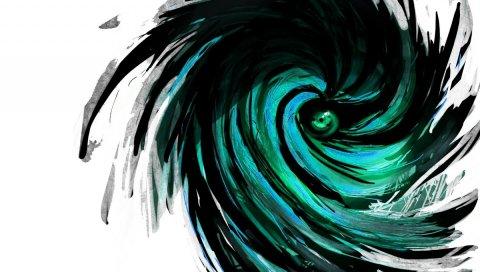 Абстракция, кратер, зеленый, черный