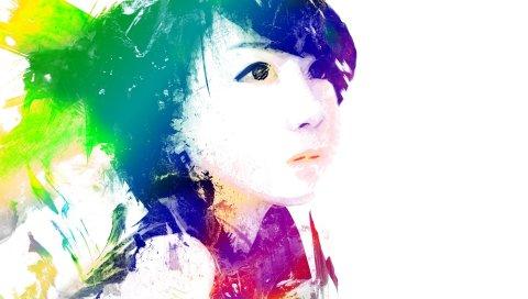 Девушка, портрет, красочный, яркий