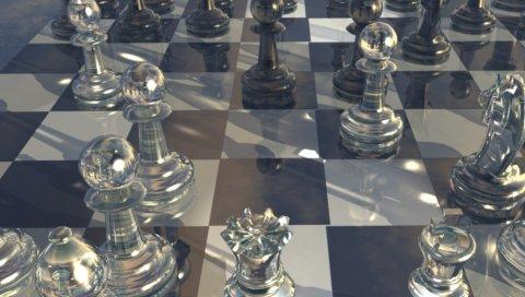 Шахматы, доска, стекло, дизайн