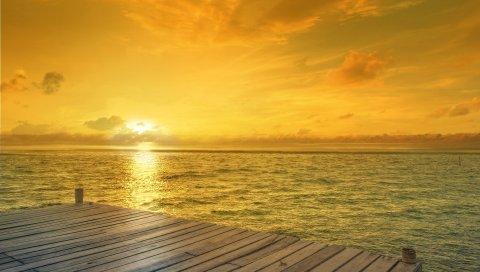 Пляж, восход солнца, Горизонт