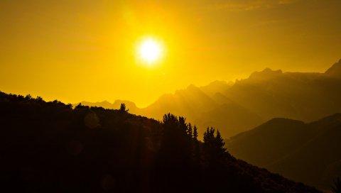 Красивый, Темный, Горы, Солнце
