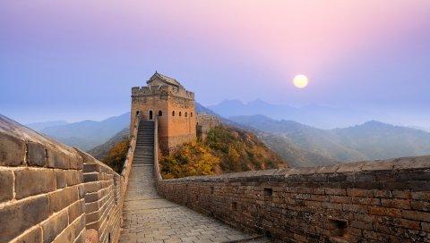 WALL, Великий, восход солнца, Китай, Древний, Чудо, Форт