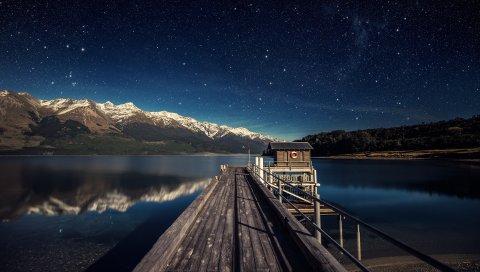 Озеро, размышления, Горы, Лунный свет, Бесчисленные, Вакатипу, Звездный, Нгтс