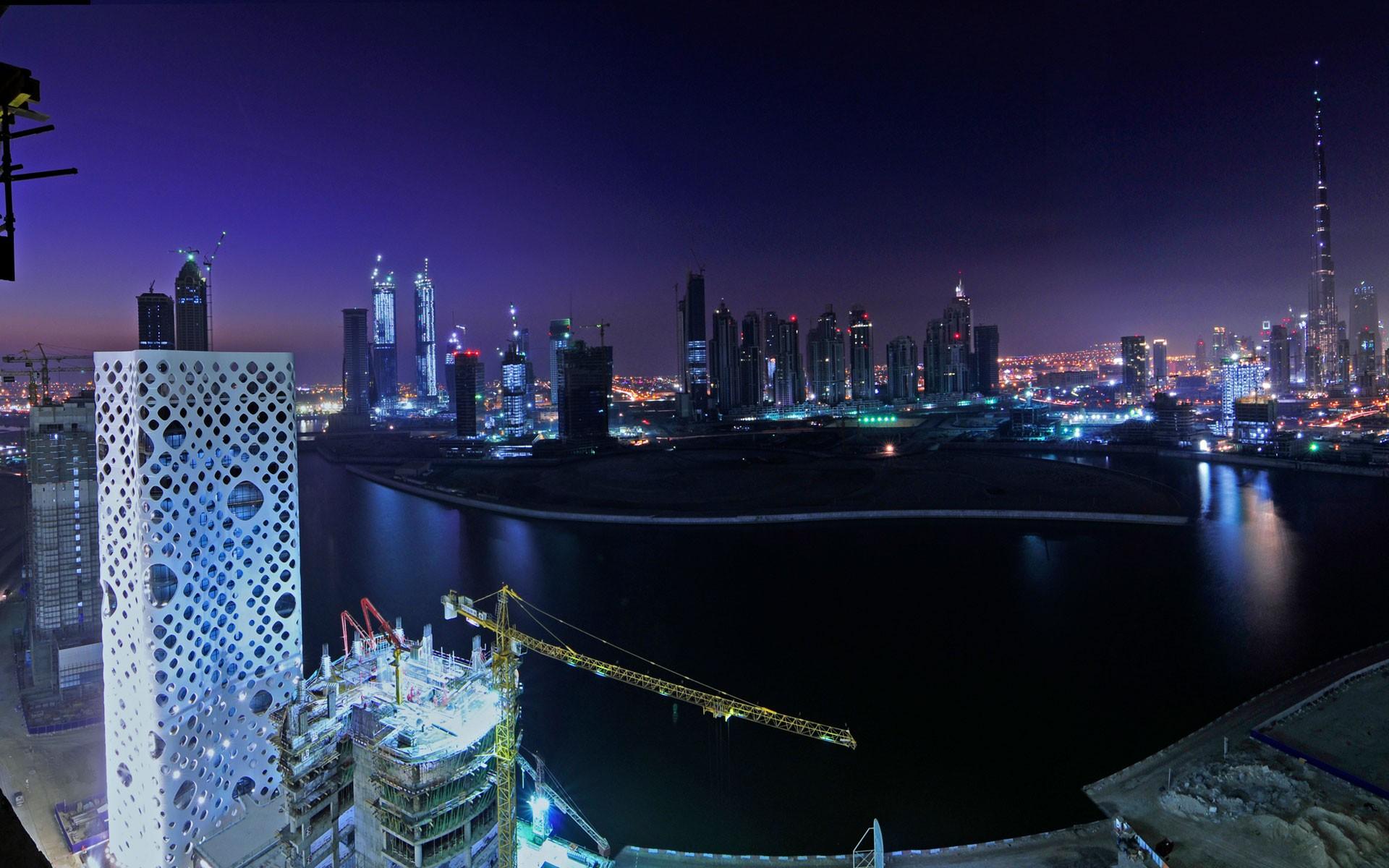 Картинки Дубай, Ночи, Центр города фото и обои на рабочий стол